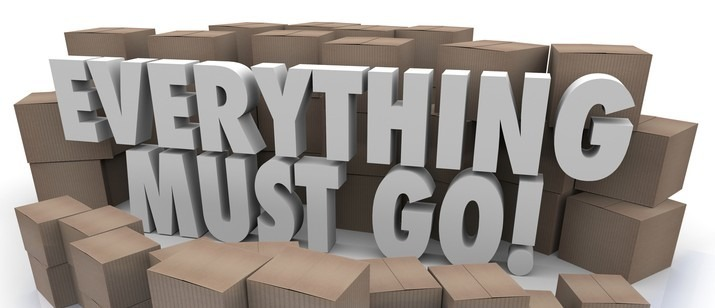 Everything Must Go Boxes Overstock Inventory Store Closing Sale